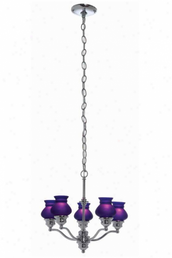Susie Chandelier - Five Light, Chrome/blie