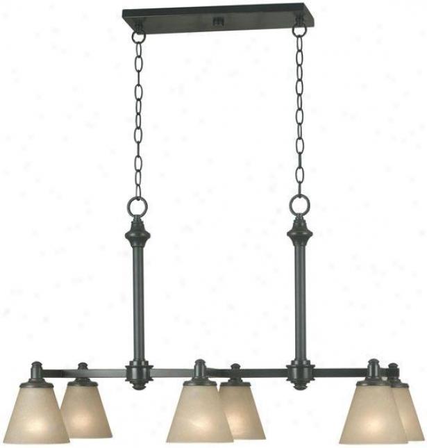Tallow 6-light Island Light - Amber Glass, Bronze