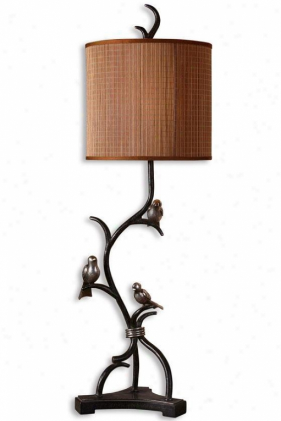 """three Little Birds Flat Lamp - 39""""hx12""""w, Brown"""