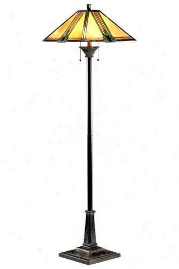Tiffany-style Maple Jewel Floor Lamp - Maple Jewel, Bronze