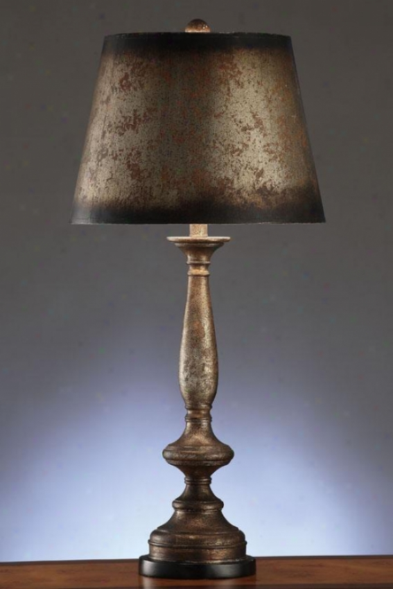 """townsend Silvrr Leaf Painted Table Lamp - 34.5""""h, Silver Leaf"""