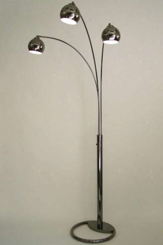 """triplet Arc Lamp - 83""""hx62""""wx32""""d, Black"""