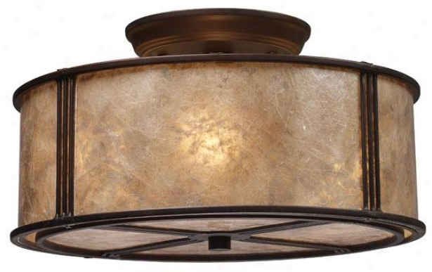 """turlington Semi-flush Mount - 7""""hx13""""w, Bronze Bronze"""
