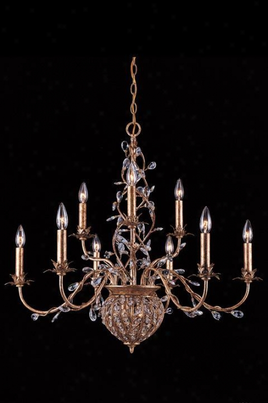 """two-tier Paris Flea Crystal Chandeljer - 30""""hx32""""w, Gokd"""