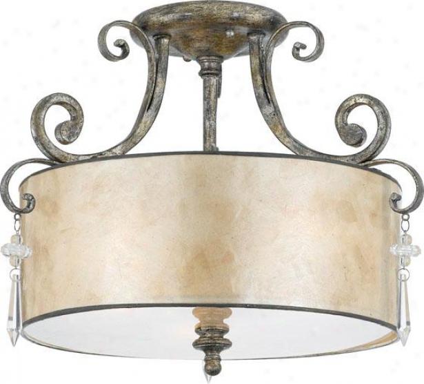 Vanessa Semi-flush Mount - 3-light, Mottled Sikver