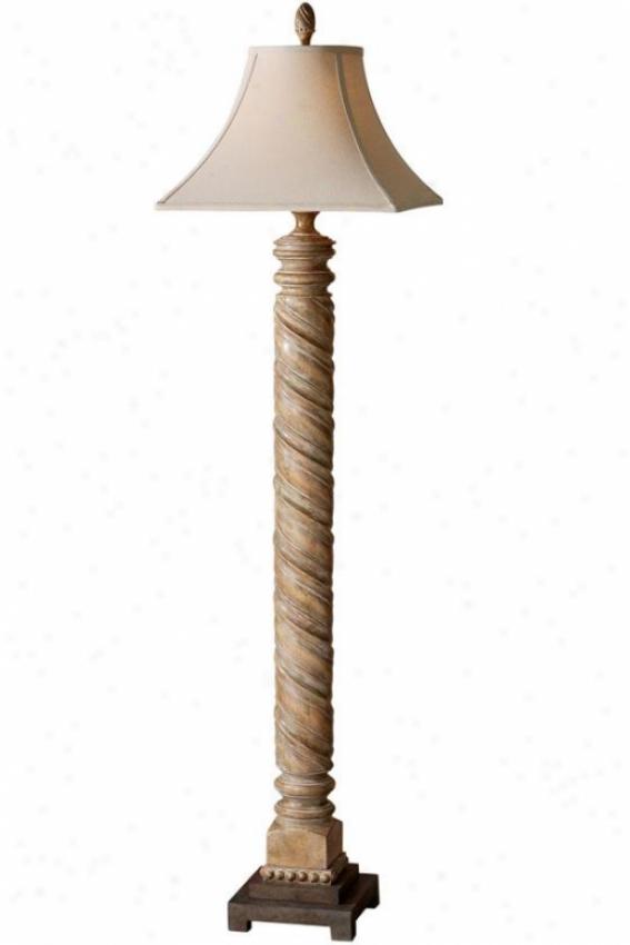 """villaurbana Floor Lamp - 65""""hx17""""square, Roasted Pecan"""
