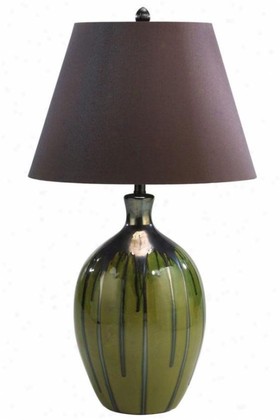 """watermelon Table Lamp - 35""""h, Lime Green/brwn"""