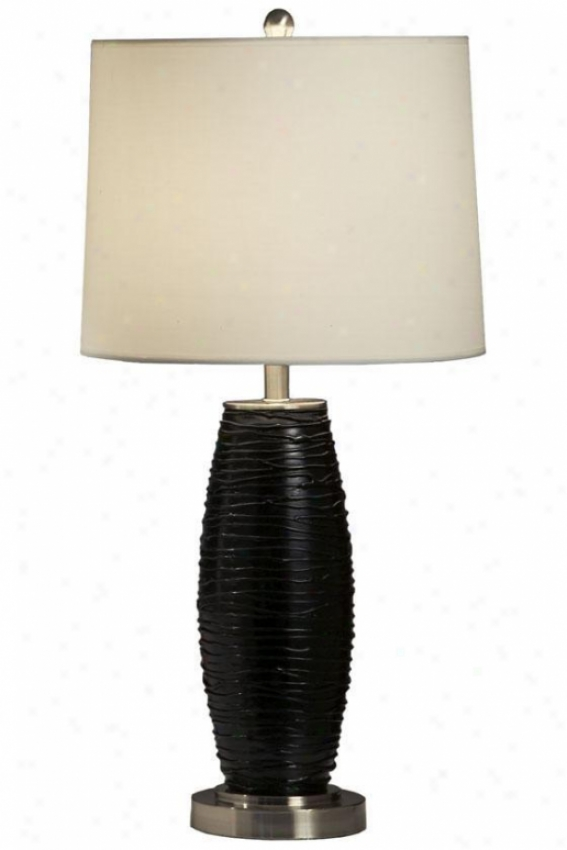 """waves Table Lamp - 28""""hx14""""w, Black"""