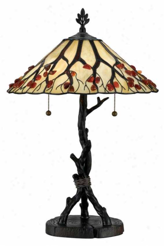 """whispering Wood Tiffany-style Table Lamp - 25""""h, Brown Bronze"""