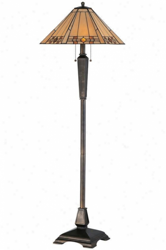"""""""willow Stained Art Glasss Window Panel Portables Floor Lamp - 59""""""""h, Bronze"""""""