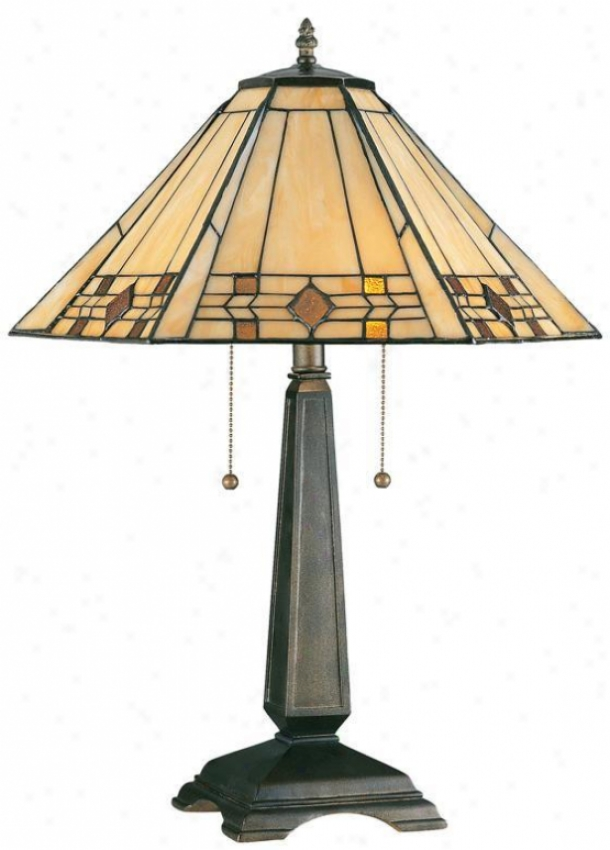 """willow Stained Art Glass Window Panel Portables Table Lamp - 24""""h, Bronze"""