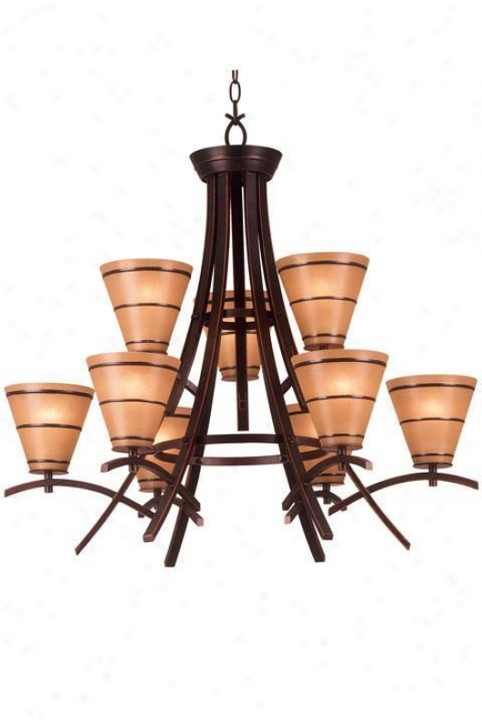 Wright Nine-light Chahdelier - Amber Scavo, Bronze