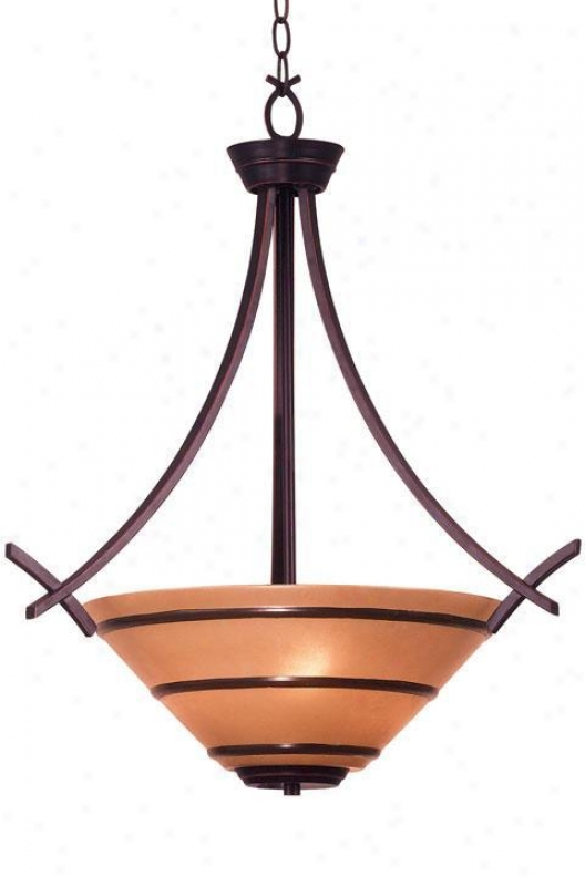 Wright Three-light Pendant - Amber Scavo, Bronze