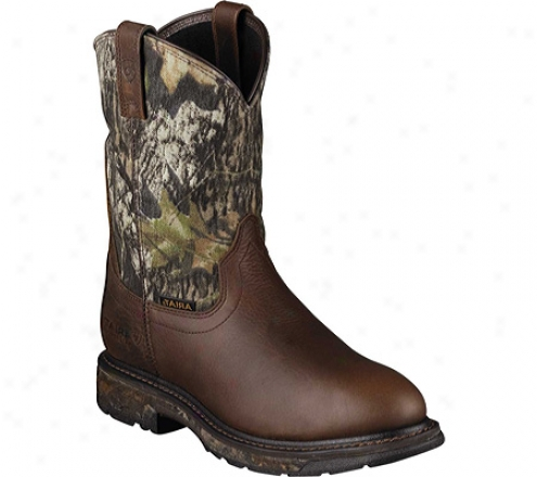 Ariat Workhog Pull-on H2o (men's) - Oiled Brown/mossy Oak Waterproof Leather