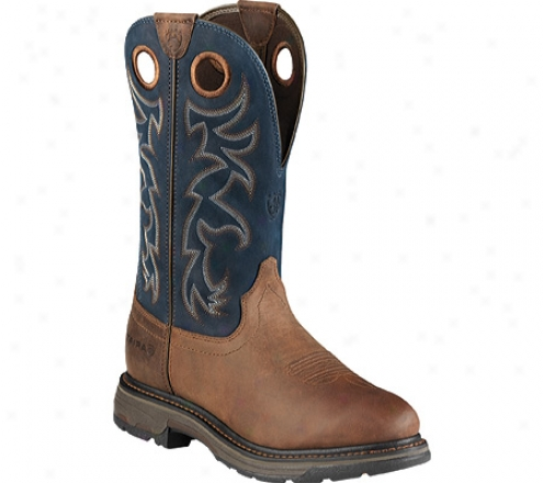 Ariat Workhog Pull-on Tall (men's) - Alamo Brown/blue Fulk Grain Leather