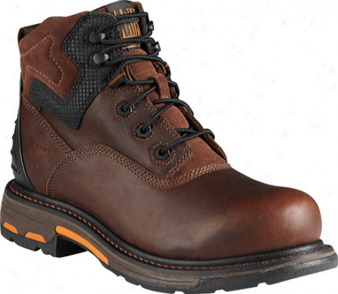 """ariat Workhog Rt 6"""" H2oo (men's) - Oiled Brown Abundant Grain Leather"""