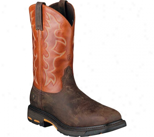 Ariat Workhog Wide Square Steel Toe (men's) - Dark Earth/brick Full Grain Leather