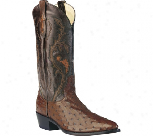 """dan Post Boots Full Quill Ostrich 13"""" R Toe (men's) - Tobacco"""