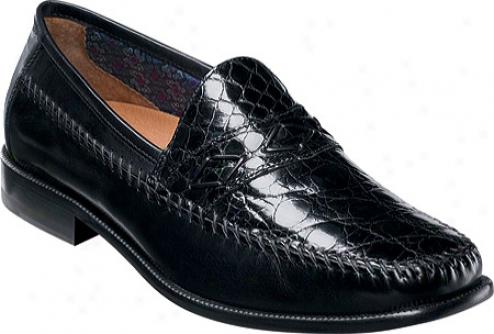 Florsheim Alfonso (men's) - Black Caiman Crocodile/smooth Leather
