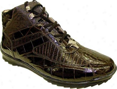 Giorgio Brutini 20003 (men's) - Chocolate Brown Croco/lizard Print
