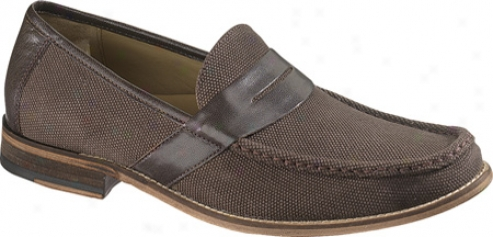 Hush Puppies Caines (men's) - Dark Brown Canvas/leather