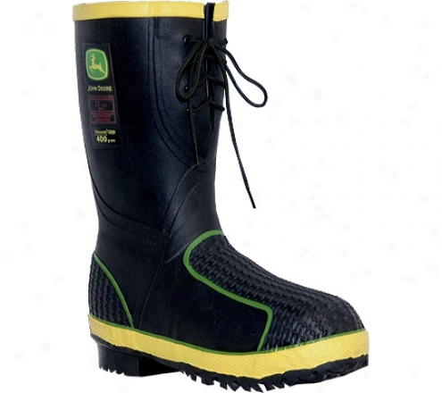 """john Deere Boots 12"""" Insulated Waterproof Safety Toe Front Lace (men's) - Black"""