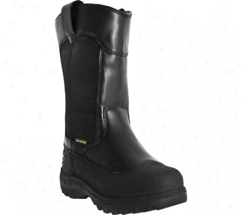 """john Deere Boots 12"""" Waterproof Miner's Steel Toe Pull On 9600 (men's)_- Black Waterproof Oiled Leather"""