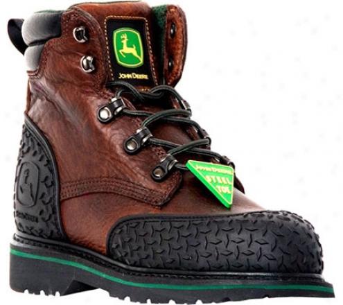"""john Deere Boots 6"""" Safety Toe Lace-ups 6343"""" (men's) - Dark Brown"""