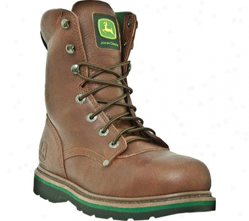 """""""john Deere Boots 8"""""""" Steel Toe Lace-up 8393 (men's) - Brown Tumbled Oiled Leather"""""""