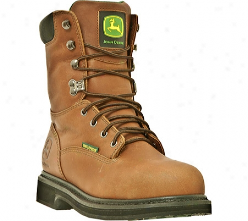 """john Deere Boots 8"""" Waterproof Lacer Stdel Toe 8302 (men's) - Maple Waterproof Full Grain Leather"""