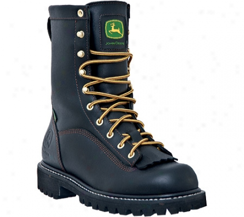 """john Deere Boots 9"""" Waterprooff Logger 9210 (men's) - Black Full Grain Waterproof Leather"""