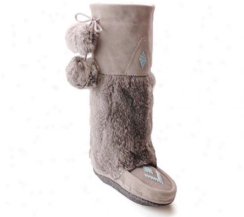 Manitobah Mukluks Suede Mukluk Boot (men's) - Grey Suede/grey Rabbit Fur