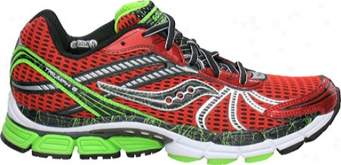 Saucony Progrid Triumph 8 (men's) - Red/black/slime Green