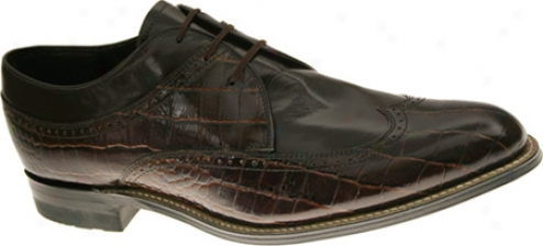 Stacy Adams Dayton 00610 (men's) - Brown Croco Print Leather With Kid