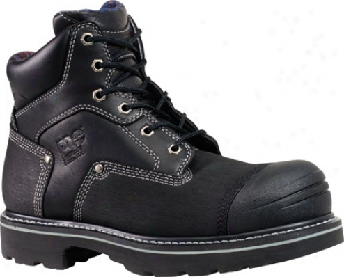 """timberland Case-harden Trax 6"""" Steel Tie (men's) - Black Comprehensive Grain Leather"""