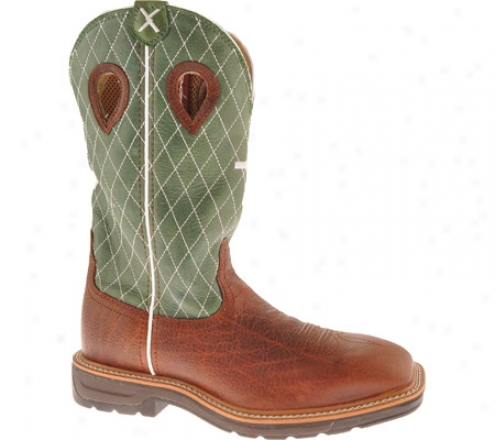 Twisted X Boots Mlcw002 (men's) - Cognac Glazed Pebble/lime Leather