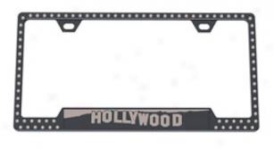 License2bling Swarovski Crystals City Licenwe Plate Frames 8425-153 Black Frame With White Lettering
