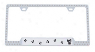 License2bling Swarovski Crystals Pet License Plate Frames 8410-300 Chrome Frame With Black Lettering