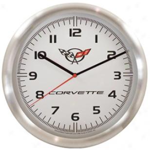 Taxor Corvette Logo Wall Clock 20289 Aluminum Wall Clock