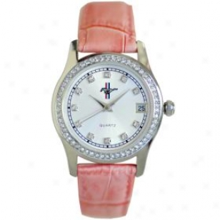 Taxor Ford Mustang Logo Watch According to Women 10038pk Pink Leather Band Crystal Indices