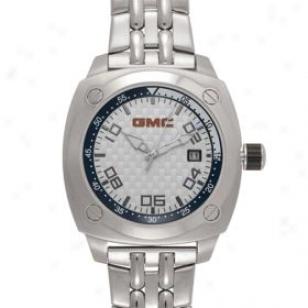 Taxor Gmc Logo Watch For Men 25101 Silver Metal Band