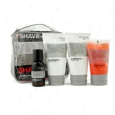 Anthony Logistics For Men Shave Violin: Scrub + Pre-shave Oil + Shave Cream + After Shave Balm + Bag 4pcs+1bag