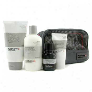Anthony Logistics For Men The Perfect Shave Kit: Cleanser + Pre-shave Oil + Shave Choice part + After Shave Cream + Bag 4pcs+1bag