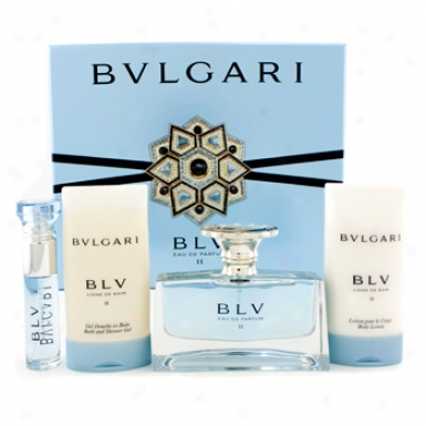 Bvlgari Blv Ii Coffret: Eau De Parfum Spray 50ml/1.7oz + Body Lotion 75ml/2.5oz + Shower Gel 75ml/2.5oz + Eau De Parfum Spray 10ml/0.33oz 4pcs