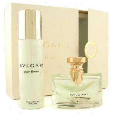 Bvlgari Pour Femme Coffret: Eau De Parfum Spray 100ml/3.4oz + Body Lotion 200ml/6.8oz 2pcs