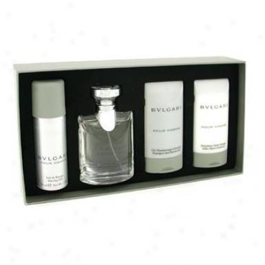 Bvlgari Pour Homme Coffret:edt Spray 50ml/1.7oz+ After Shave Emulsion 75ml/2.5oz+ Shower Gel 75ml/2.5oz+ Shaving Gel 40ml/1.4oz 4pcs