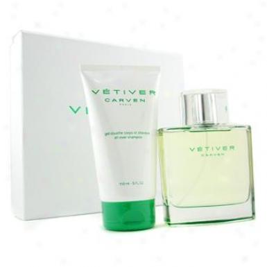 Carven Vetiver Coffret: Eau De Toilette Spray 100ml/3.3oz + Apl Throughout Shampoo 150ml/5oz 2pcs