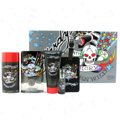 Christian Audigier Ed Hardt Born Wild Coffret: Edt Spray 100ml/3.4oz + Hair & Body Stain 90ml/3oz + Deodorant 78g//2.75oz + Edt Spray 7.5ml/0.25oz + Luggage Tag