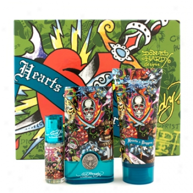 Christian Audigier Ed Hardy Hearts & Daggers Coffret: Edt Foam 50ml/1.7oz + Hair & Body Wash 90ml/3oz + Edt Spray 7.5ml/0.25oz 3pcs