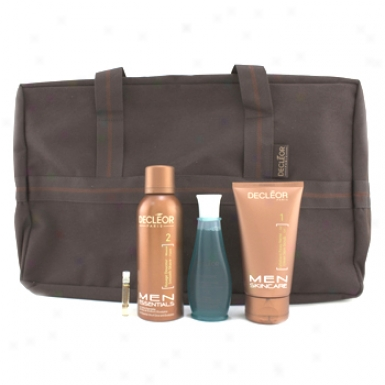 Decleor Men Essentials Set: Scrub Gel + Shave Foam + Shower Gel + Shave Prrfector Serum + Bag 4pcs+1bag